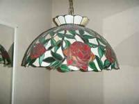 "Two Tiffany style lamp shades: Floral (22"" in"