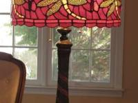 I am selling  a Tiffany style ruby table lamp with a