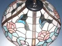 Tiffany Style Stained Leaded Glass Hanging Lamp, 5