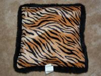 Plush velvet nearly new throw pillow in tiger stripe