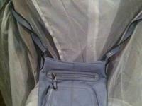 Tignanello Grey Blue pebbled leather organizer cross