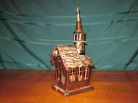 Adorable little Tin, copper colored Church that is a