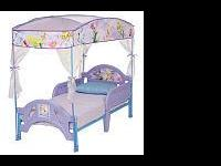 tinkerbell toddler bed with removable canopy and