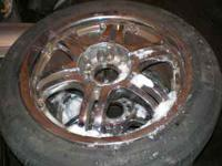 Set of 4 tires and Chrome wheels off a 1999 Sebring,