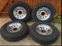 4 tires and rims chevy/ford 8 lug LT235/85 -16 load