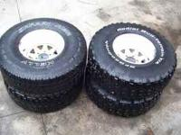 "I have four 35"" tires on 15"" white wagon wheels-6 lug"