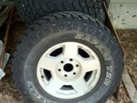 4 285/70/17 Kelly Safari TSR on 17 in chevy stock rims.