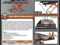 Titan 1500XLT Motorcycle Lift FEATURES This 1,500 lb.