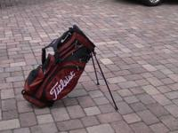 Red and Black Titleist  Carry Bag with Stand.