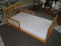 Light Oak Wooden Toddler Bed. Excellent Condition.