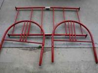 Red Metal Toddler Bed Frame. Simple to assemble. Fits