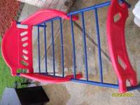 Toddler bed frame red/blue no stickers on it. Cars bed