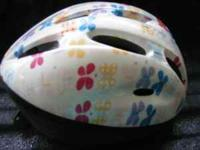 Toddle Girls Bike Helmet with flowers around the
