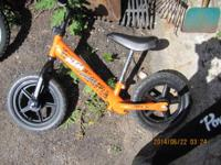 Three Boy's Toddler Bikes for Sale. 1 Orange Scoot Bike