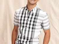 Black and white plaid takes this casual shirt from