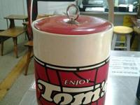 """TOM'S"" TALL SHINY VINYL INSULATED ICE BUCKET.  GREAT"