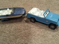 TONKA -  JEEPSTER W/ BOAT AND TRAILOR.  GREAT CONDITION