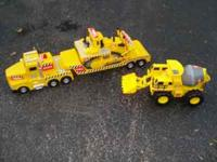 These are qty. 3 large Tonka Trucks. Cement mixer,