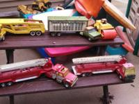 Tonka Toys and various sandbox toys and trucks. Make an