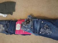 Three miss me jeans one l.a Idol pants two shorts tones