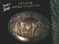 "Vintage Collectible brass belt buckle from the ""Tony"