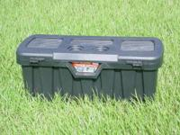 "Tool boxes, 34""W x 14""H x 14""D. Black plastic. Made by"