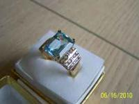 Topaz & Diamond Ring, 10k Yellow Gold Size 7 NEW NEVER