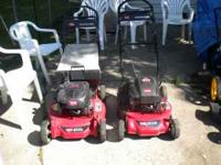 Toro personal pace lawn mowers. They run and look good.