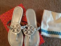 EUC Tory Burch Miller Sandals. Size 10. Silver Tumbled