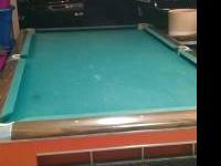Tournament size pool table w 1 1/2 inch slate top. Has