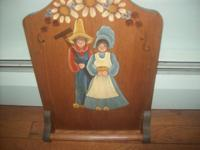 NICELY MADE WOOD TOWEL HOLDER WITH FARMERS PAINTED ON