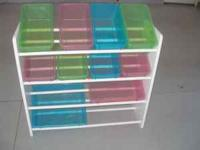 Selling a toy box with bins. Great for separating and