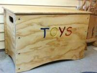 "This nice wood toy box is made out of 3/4"" pine plywood"