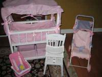 4 items - Baby Doll Crib, American Girl Bitty Baby High