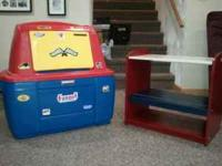 1) Plastic red, blue and yellow toy box with racing