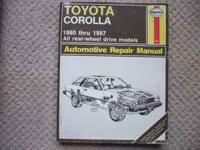 For sale: One Toyota Carolla Repair Manual by Haynes.