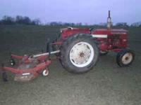 International 444 gas tractor with 5' finish mower (