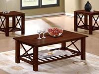 3 Pc. Deep Mahogany Coffee Table with 2 End Tables