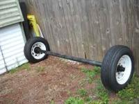 Heavy duty axel +wheels and new tires 6 logs nut asking