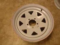 Assortment of trailer rims. Two 6 bolt, one 5 bolt &