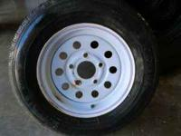 Tire and wheel for a trailer. Wheel is a 5 lug 12 inch