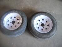 trailer tires like new 5.30-12 4 bolt rims 3/4 or