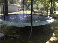 Trampoline is about 4 yrs old. Has enclosure, the green