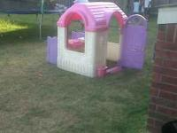 Trampoline with enclosure $250.00 I also have a barbie