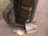 Taupe, durable, new luggage bag, spacious, wheeled and