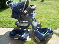 blue and brown, carseat with 2 bases and stroller,
