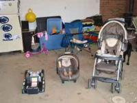 Car seat with base plus stoller. Stoller only used a