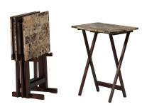The Brown Faux Marble Rectangular TV Table Set has a