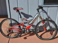 This is a Trek Y26 Mountain Bike. It has dual