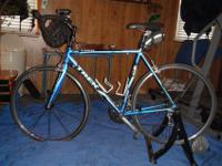Trek 1500 Road Bike, 54cm frame with a indoor trainer.